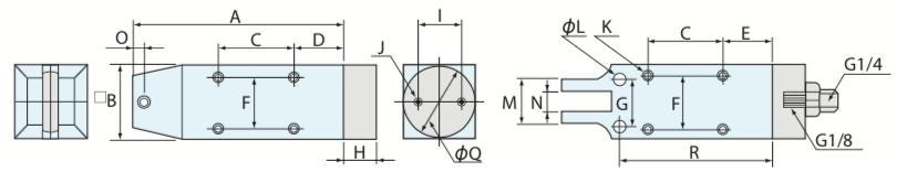 MS型 機械取付式角型エアーニッパ 標準タイプ