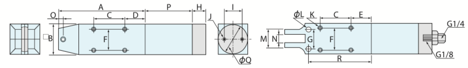 MSP型 機械取付式角型エアーニッパ 増圧タイプ