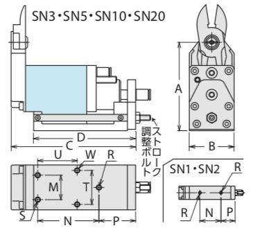 SN型 ゲートカット用エアーニッパ 引き切りタイプ